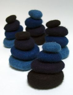 "Untitled, 2006, Indigo, wool, stones, hand felted and dyed, 5"" x 5"" x 5"", by Rowlaad Ricketts"