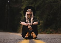 Girl sitting on a road in the forest by remi + tori on Creative Market Road Photography, Creative Portrait Photography, Portrait Photography Poses, Photography Poses Women, Portrait Poses, Inspiring Photography, Stunning Photography, Outdoor Photography, Photography Tutorials