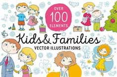 """Kids and Families vector art Graphics """"Kids and Families"""" is a bundle of vector images: compositions with over 100 vector images** (i by Zira Zulu Pencil Illustration, Graphic Illustration, Family Vector, Cute Fonts, Free Graphics, Creative Sketches, Stickers, Free Illustrations, Business Card Logo"""