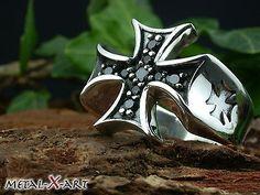 925 Sterling Silber, Ring Eisernes Kreuz mit Onyx, Freimaurer,Masonic,bis Gr. 78