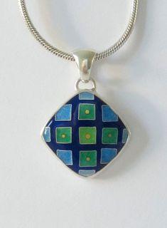 Grid Pendant  Cloisonne enamel pendant  Blue and by MichaelRomanik