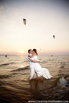 Outer Banks Wedding, Beach Wedding, OBX Wedding, Bride & Groom on Beach, Sunset Wedding, Sunset, Waterfront Wedding, Nautical Wedding, Bride & Groom, Sunset Wedding Photos