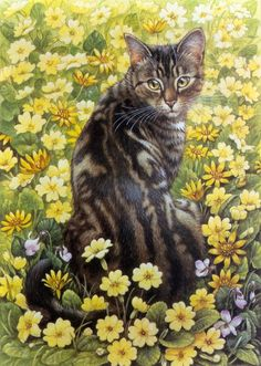 cat picture 				1000x1405 with  		lesley anne ivory 		solo 		miotic pupil 		white hair 		whiskers 		black hair 		sitting 		brown hair 		yellow eyes 		tail 		tall image 		brown nose 		drawing 		big ears 		flower (flowers) 		tabby blotched