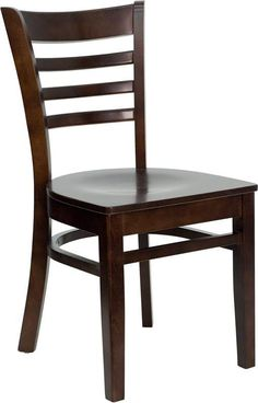 HERCULES Series Walnut Finished Ladder Back Wooden Restaurant Chair XU-DGW0005LAD-WAL-GG by Flash Furniture