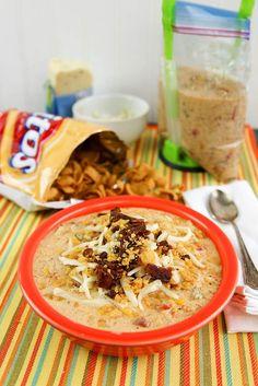 Instant Pot Jalapeno Popper Chicken Chili via @onceamonthmeals