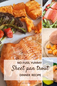 Easy and delicious dinner idea for the whole family or for a dinner party with friends. Easy trout filler recipe: sheet pan trout recipe, plus how to roast trout fillet and trout with broccolini, cherry tomatoes and sweet potatoes recipe idea Dinner Party Recipes, Dinner Ideas, Trout Fillet Recipes, Recipe Sheet, Herb Roasted Potatoes, Steamed Vegetables, Irish Recipes, Sweet Potato Recipes, International Recipes