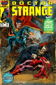 Doctor Strange, Scarlet Witch And Dracula by Rudy Nebres Original Art, Art With Colors By Gerry Turnbull, Alternate Colors By Gerry Turnbull And Cover Mockup Via Comic Arts Fans