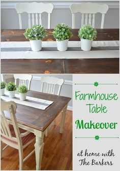 Farmhouse Table Makeover Dark Stain #farmhouse #homedecor