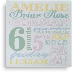 Baby Name canvas - pastels