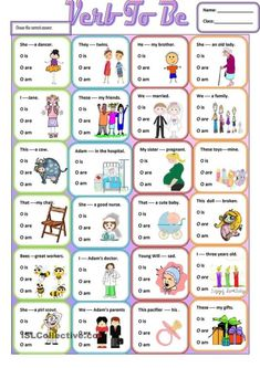 Verb to be worksheet - Free ESL printable workshee. Verb to be worksheet – Free ESL printable worksheets made by teachers English Grammar For Kids, Teaching English Grammar, English Worksheets For Kids, English Lessons For Kids, English Verbs, Grammar Lessons, English Vocabulary, English Activities For Kids, French Lessons