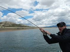 An angler's surprise after hooking a twenty incher on a lake trip. Spinney Mtn Reservoir. Courtesy Keith McHugh
