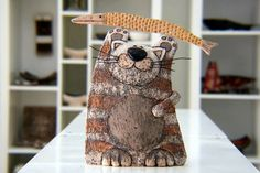 Handmade Ceramic Cat Sculpture CatPottery by GappaPottery on Etsy
