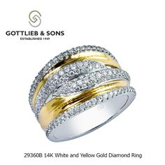 This super stylish two tone 14K White and Yellow Gold ring features rows of pavé and shared prong set round #diamonds set into polished white and yellow gold. Visit your local #GottliebandSons retailer and ask for style number 29360B. http://www.gottlieb-sons.com/product/detail/29360B