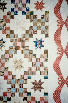 Miles, Mrs. Frank. Double Irish Chain with Mini-Stars- DETAIL. 1840 - 1850. From Rutgers Special Collections and University Archives, The Heritage Quilt Project of New Jersey, Inc.. Published in The Quilt Index