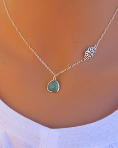 Sky  Aqua Blue Opal Silver Necklace by RedEnvelopeGifts on Etsy, $24.00