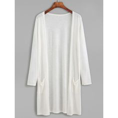 SheIn(sheinside) White Long Kimono With Pockets (14 CHF) ❤ liked on Polyvore featuring intimates, robes, white, white robe, long white robe, white kimono, long sleeve kimono and long robe