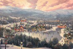 Sunset on Snowflake Lake. Painted by Thomas Kinkade. http://www.thomaskinkade.com/magi/servlet/com.asucon.ebiz.catalog.web.tk.CatalogServlet?catalogAction=Product&productId=210731&menuNdx=0