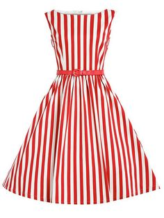 Red+Vertical+Striped+Flare+Dress+With+Belt+17.99