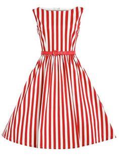 Vestido de llamarada de rayas verticales con cintura-(Sheinside)