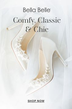 Bella Belle wedding shoes have it all. Comfortable, classic and oh-so-chic. What more can you ask for in bridal shoes on the most important day of your life?