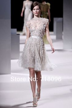 2013 Elie Saab Haute Couture Light Grey Tulle Lace Beads and Sequins Knee Length Short Modest Shiny Party Gown Cocktail Dress US $499.99