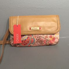 """Oilily coral clutch Coral and brown clutch with adjustable, removable strap.  10"""" x 7"""" Oilily Bags Shoulder Bags"""