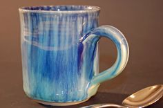 Blue and Green Pottery Mug Pottery Coffee Mug by nhfinestoneware, $19.95