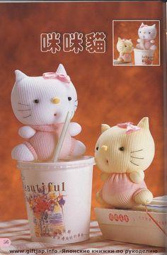 Kitties from socks. Japanese Magazine pattern and Little tutorial - Schnittvorlage und etwas Anleitung