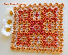 \ PINK ROSE CROCHET / Crochet Potholders, Crochet Squares, Crochet Doilies, Crochet Kitchen, Crochet Home, Pink Rose Croche, Wiggly Crochet Patterns, Freeform Crochet, Diy And Crafts