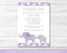 Baby Shower Invitation Elephant Baby Shower por OakCityPaperCompany