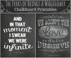 The Perks of Being a Wallflower Chalkboard Printables by Spool and Spoon