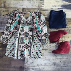 Shop our BRAND NEW Aztec Print Top in Burgundy! Just $28 + FREE SHIPPING!