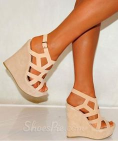Comfortable Beige Cut-Outs Wedge Heel Sandals
