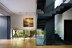 Modern stairs in deep blue