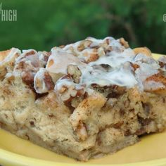 Cinnamon Roll French Toast Bake for a 9 x 13.  I use 2 cans of 17.5 oz.  TJ's Jumbo Cinnamon Rolls.  I cut the maple syrup down to 1/2 cup, and skip the pecans.