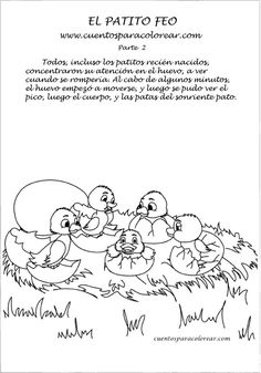CUENTO PARA COLOREAR DE EL PATITO FEO 2. LÁMINAS GRATIS PARA ... Arabic Calligraphy, Math, Google, Animals, Frases, Poems For Children, Free Coloring Pages, Kids, Animaux