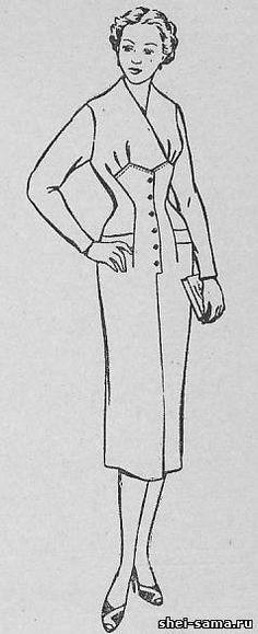 Платье с подрезом ниже линии груди и мягкими складками - Сто фасонов женского платья - Всё о шитье