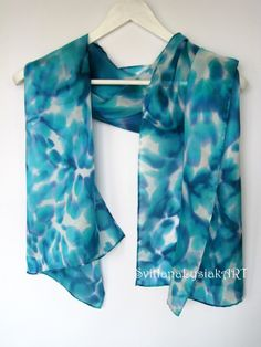 Blue scarf for women Hand painted silk scarf - Lightweight scarf Turquoise scarf Hand dyed scarf - Teal silk scarves Spring scarf batik Painted Silk, Hand Painted, Dyed Silk, Silk Shawl, Lightweight Scarf, Silk Painting, Silk Scarves, Silk Art, Shawls