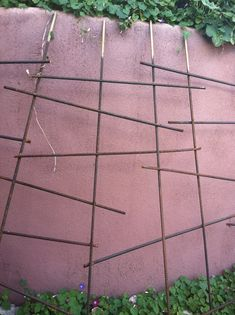 irregular rebar trellis at my friend Lisa's guesthouse, Suitable Digs, Santa Fe.