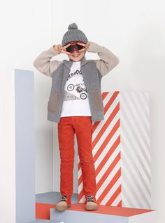 Elm cardigan, Max t-shirt, Pedro trousers, Wolf booties, Sparky hat
