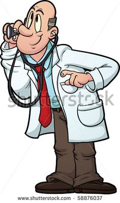 Cartoon doctor using stethoscope. Vector image with simple gradients. - stock vector