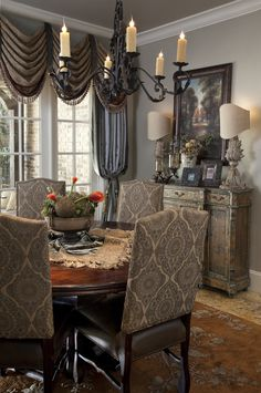 If you are having difficulty making a decision about a home decorating theme, tuscan style is a great home decorating idea. Many homeowners are attracted to the tuscan style because it combines sub… Interior Decorating Styles, Tuscan Decorating, Home Decor Trends, Home Interior Design, Diy Home Decor, Decor Ideas, Tuscan Dining Rooms, Elegant Dining Room, Dining Table