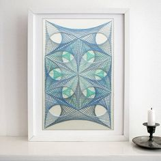 Abstract, Wall Art, String Art, Izonit, Handmade, Custom, Gift, Home decor, Home, Office, Decorate, Blue, Baby, Geometric, blue / baby blue