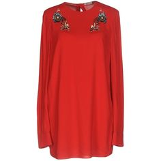 Miu Miu Blouse (4.965 RON) ❤ liked on Polyvore featuring tops, blouses, red, round collar blouse, beaded blouses, miu miu blouse, red blouse and beaded long sleeve top