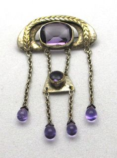Arts and Crafts SilverPlated and Amethyst by PastAccoutrementals, $119.00