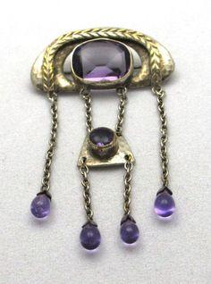 Jugendstil pendant. Silver and glass. Sold on Etsy.
