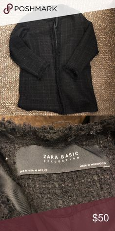 Zara Black Tweed Jacket Zara Black Tweed Jacket. Size medium, I'm a true small and it fits me. Great condition, easy to layer! Zara Jackets & Coats