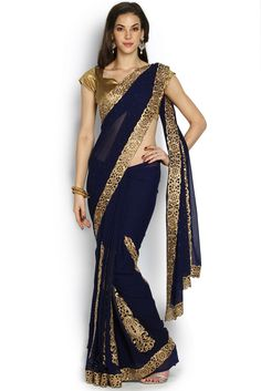 Navy Blue & Gold-Toned Embroidered Georgette Saree
