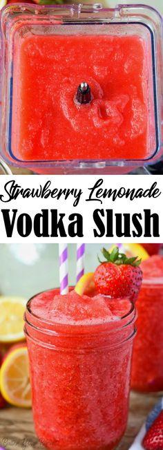 Alcoholic Lemonade Drinks, Strawberry Alcohol Drinks, Mixed Drinks Alcohol, Party Drinks Alcohol, Alcohol Drink Recipes, Fruit Drinks, Strawberry Lemonade Vodka Slush Recipe, Beverages, Slushies
