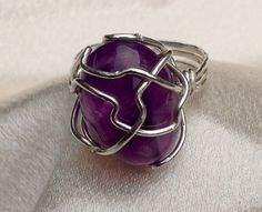 Amethyst and sterling silver ring.